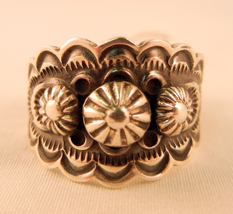 Navajo Sterling Silver Stamped and Appliqued Ring