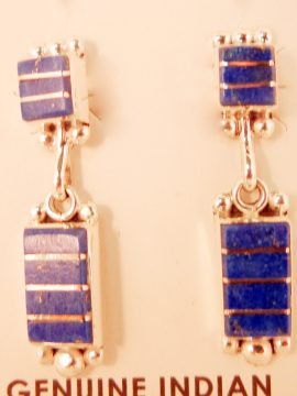 Zuni Small Lapis and Sterling Silver Inlay Earrings