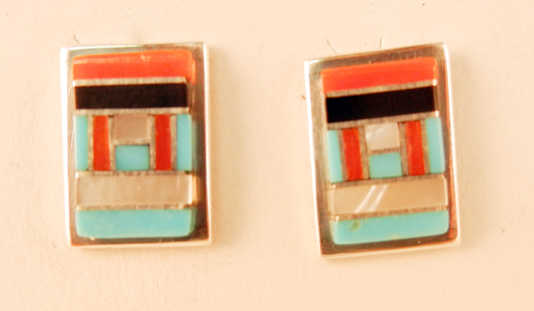 Zuni Small Multi-Stone and Sterling Silver Inlay Earrings