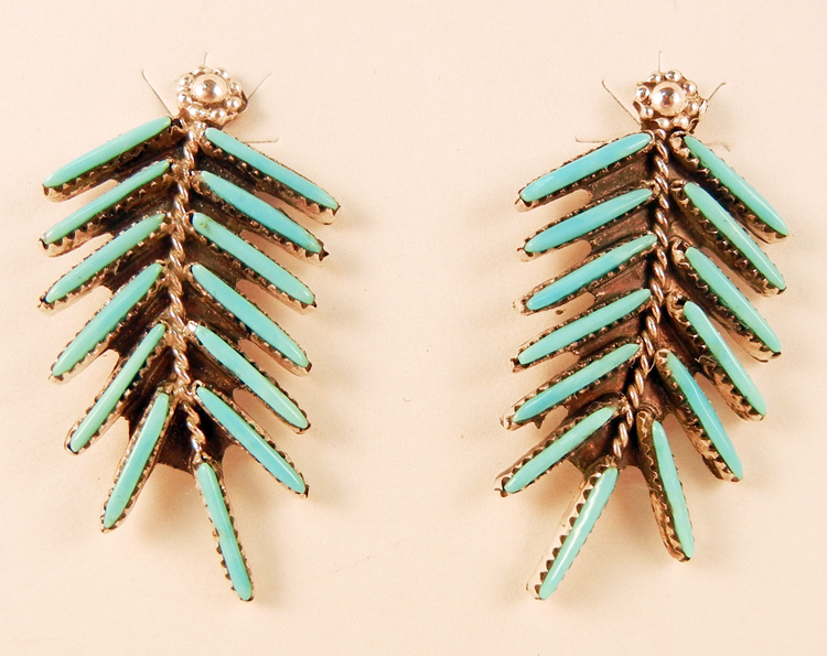 "Zuni Turquoise Needlepoint and Sterling Silver ""Leaf"" Earrings"