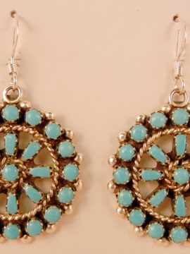 "Zuni Karen Booqua Sleeping Beauty Turquoise and Sterling Silver ""Wheel"" Dangle Earrings"