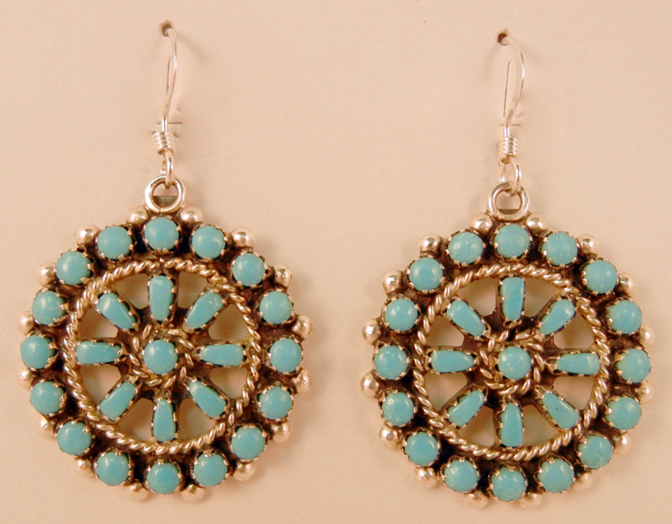 native-american-indian-jewelry-zuni-earrings-turquoise-petit-point-sterling-silver