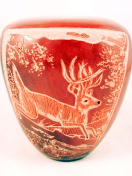 Santa Clara Bernice Naranjo Small Etched and Polished Buck and Fawn Seed Pot