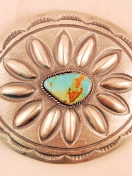 Navajo Hemerson Brown Brushed Sterling Silver and Turquoise Belt Buckle