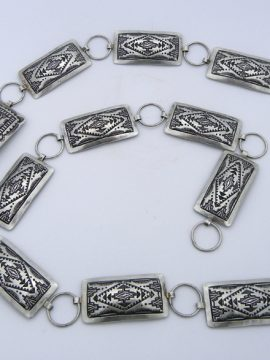 Navajo Vince Platero Hand Stamped Brushed Sterling Silver Concho Belt