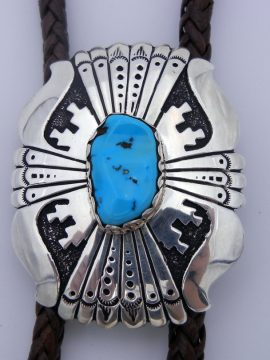 Navajo Rosita Singer Turquoise and Sterling Silver Overlay Bolo Tie