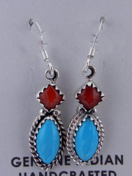 Navajo Small Turquoise and Coral Earrings