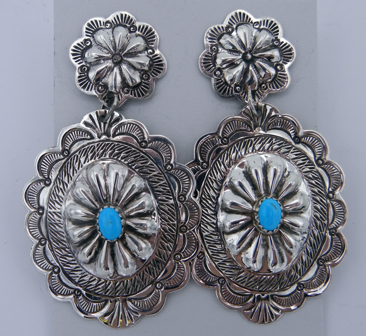 native-american-indian-jewelry-navajo-earrings-large-sterling-silver-turquoise-concho