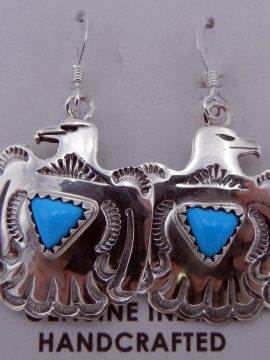 Navajo Small Sterling Silver and Turquoise Thunderbird Earrings