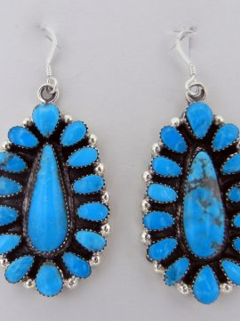 Navajo Turquoise and Sterling Silver Rosette Dangle Earrings