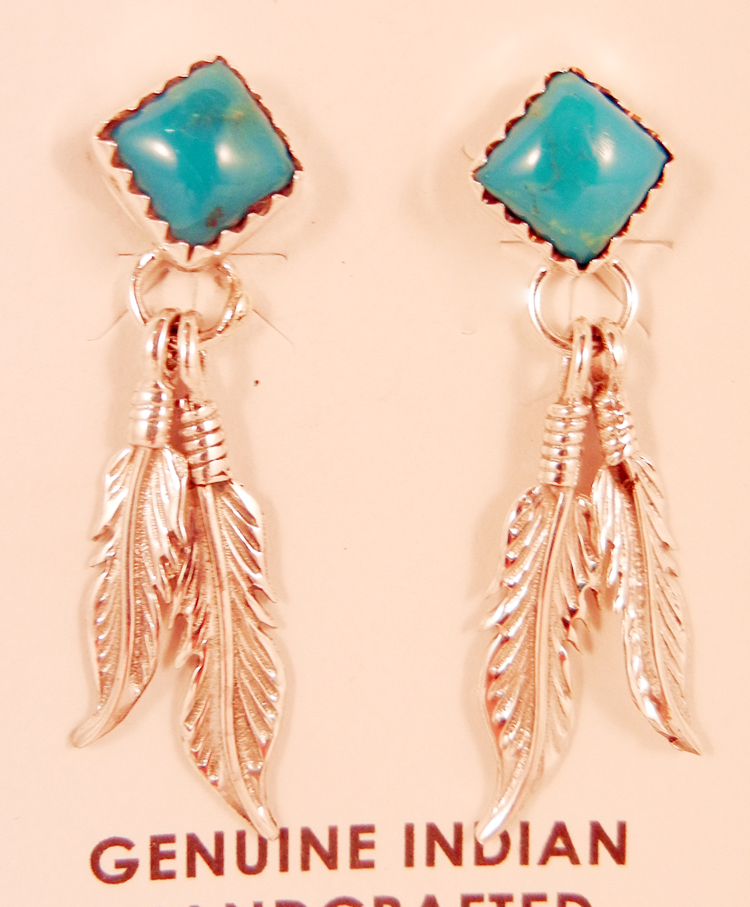 Navajo Turquoise and Sterling Silver Double Feather Earrings