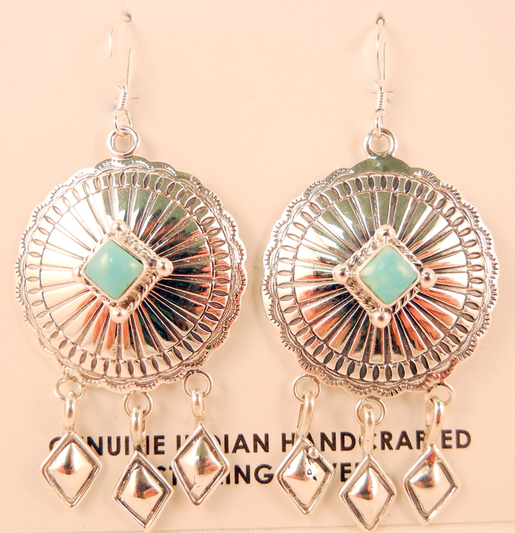 Navajo Turquoise and Sterling Silver Dream Catcher Earrings