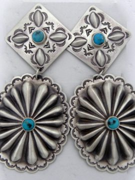 Navajo Harris Joe Brushed Sterling Silver and Turquoise Concho Style Earrings