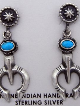 Navajo Sterling Silver and Turquoise Naja Earrings