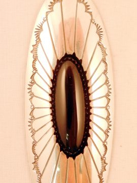 Navajo Thomas Nez Onyx and Sterling Silver Pendant