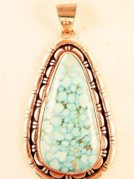 Navajo Thomas Francisco Large Kingman Turquoise and Sterling Silver Pendant