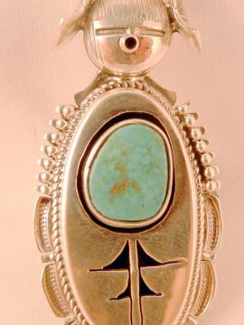 Navajo Bennie Ration Turquoise and Sterling Silver Shadowbox Style Maiden Ring