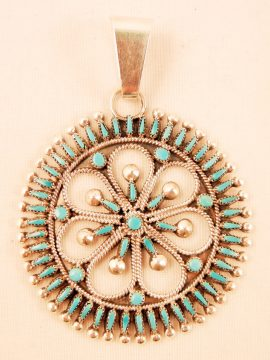 Zuni Sleeping Beauty Turquoise Needlepoint, Petit Point, and Sterling Silver Pendant