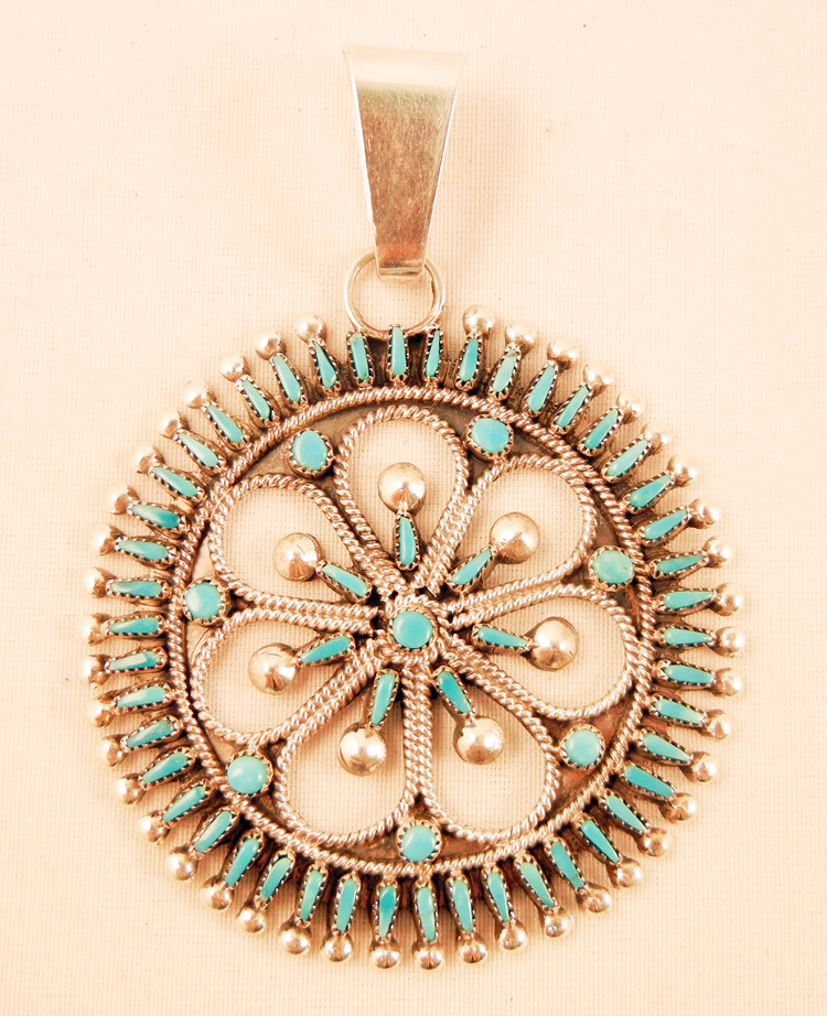 native-american-indian-jewelry-zuni-pendant-sterling-silver-turquoise-needlepoint-petitpoint (1)