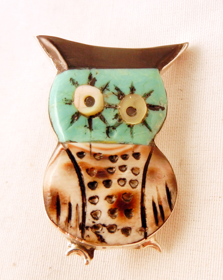 Zuni Multi-Stone Inlay and Sterling Silver Owl Pin Pendant