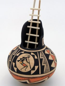 "Navajo Westly Begaye Small ""Flute Player"" Pottery with Wooden Ladder"