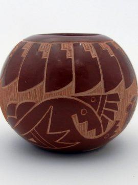 Santa Clara Candelaria Suazo Small Etched Avanyu Pottery