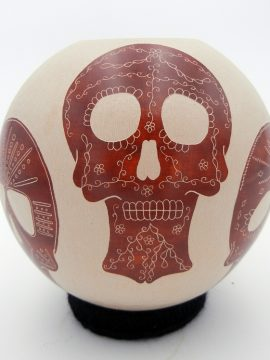 Mata Ortiz Abel Lopez Roz Buff and Red Painted Skull Jar