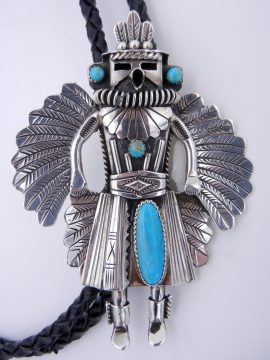 Navajo Will Denetdale Sterling Silver and Kingman Turquoise Eagle Dancer Bolo Tie