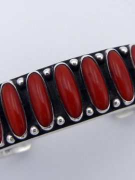 Navajo Ernest Rangel Coral and Sterling Silver Row Cuff Bracelet