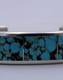Navajo Larry Loretto Kingman Turquoise and Sterling Silver Inlay Cuff Bracelet