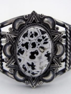 Navajo Mary-Ann Spencer White Buffalo and Sterling Silver Cuff Bracelet