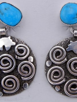 Navajo Alex Sanchez Turquoise and Sterling Silver Petroglyph Style Dangle Earrings