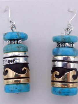 Navajo Rosita Singer Turquoise, Sterling Silver, and Gold Fill Overlay Dangle Earrings