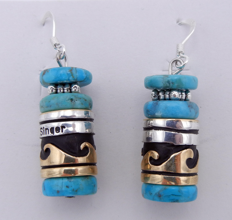 native-american-indian-jewelry-navajo-earrings-rosita-singer-turquoise-sterling-silver-gold-fill-overlay