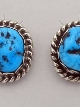 Navajo Turquoise Nugget and Sterling Silver Earrings