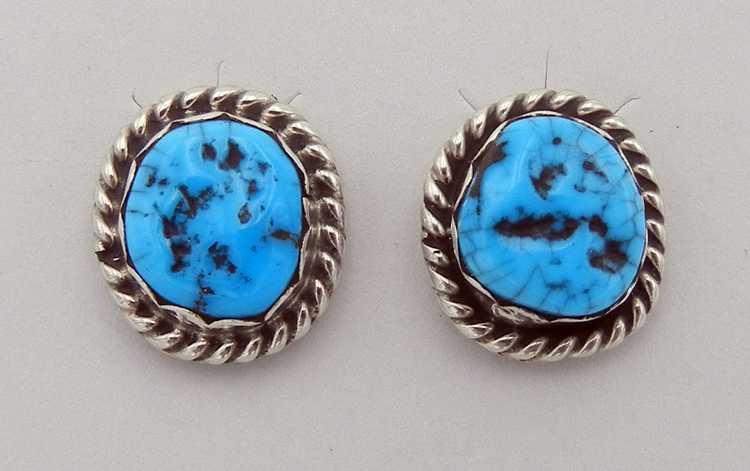 native-american-indian-jewelry-navajo-earrings-turquoise-nugget-sterling-silver-small-posts