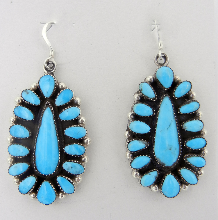 native-american-indian-jewelry-navajo-earrings-turquoise-sterling-silver-rosette-pattern