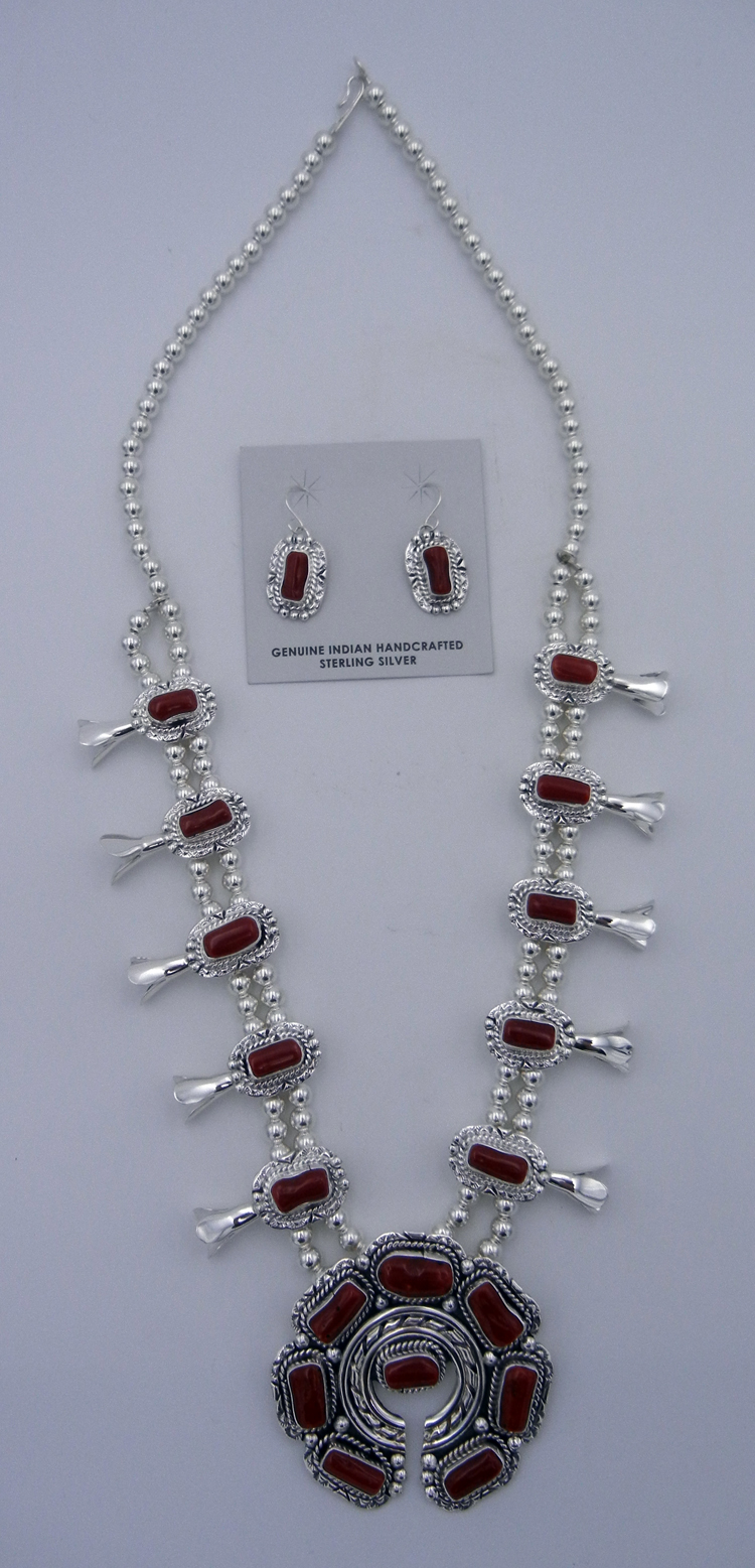 Navajo Natural Mediterranean Branch Coral and Sterling Silver Squash Blossom Necklace and Earring Set
