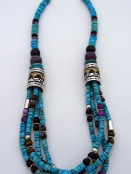 Navajo Rosita Singer Multi-Stone Necklace with Sterlign Silver and Gold Fill Barrels