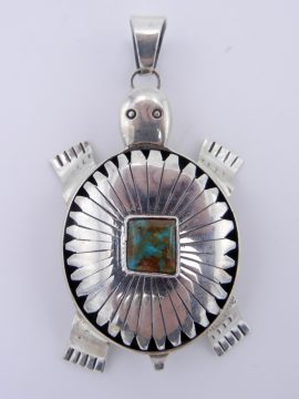 Navajo Bennie Ration Large Sterling Silver and Turquoise Shadowbox Turtle Pendant