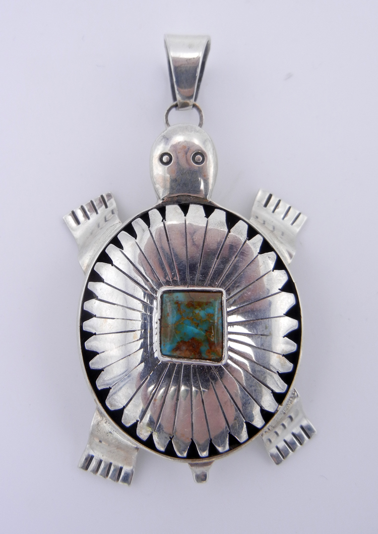 native-american-indian-jewelry-navajo-pendant-bennie-ration-large-sterling-silver-turquoise-shadowbox-turtle (1)