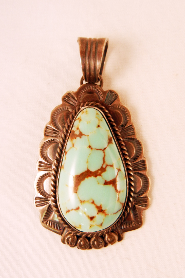 Navajo Will Denetdale Kingman Turquoise and Sterling Silver Pendant