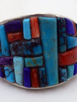 Navajo Merle House Multi-Stone Cornrow Inlay and Sterling Silver Ring