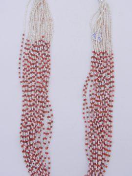 Santo Domingo Josephine Coriz White Clam Shell and Bamboo Coral Heishi 20 Strand Necklace