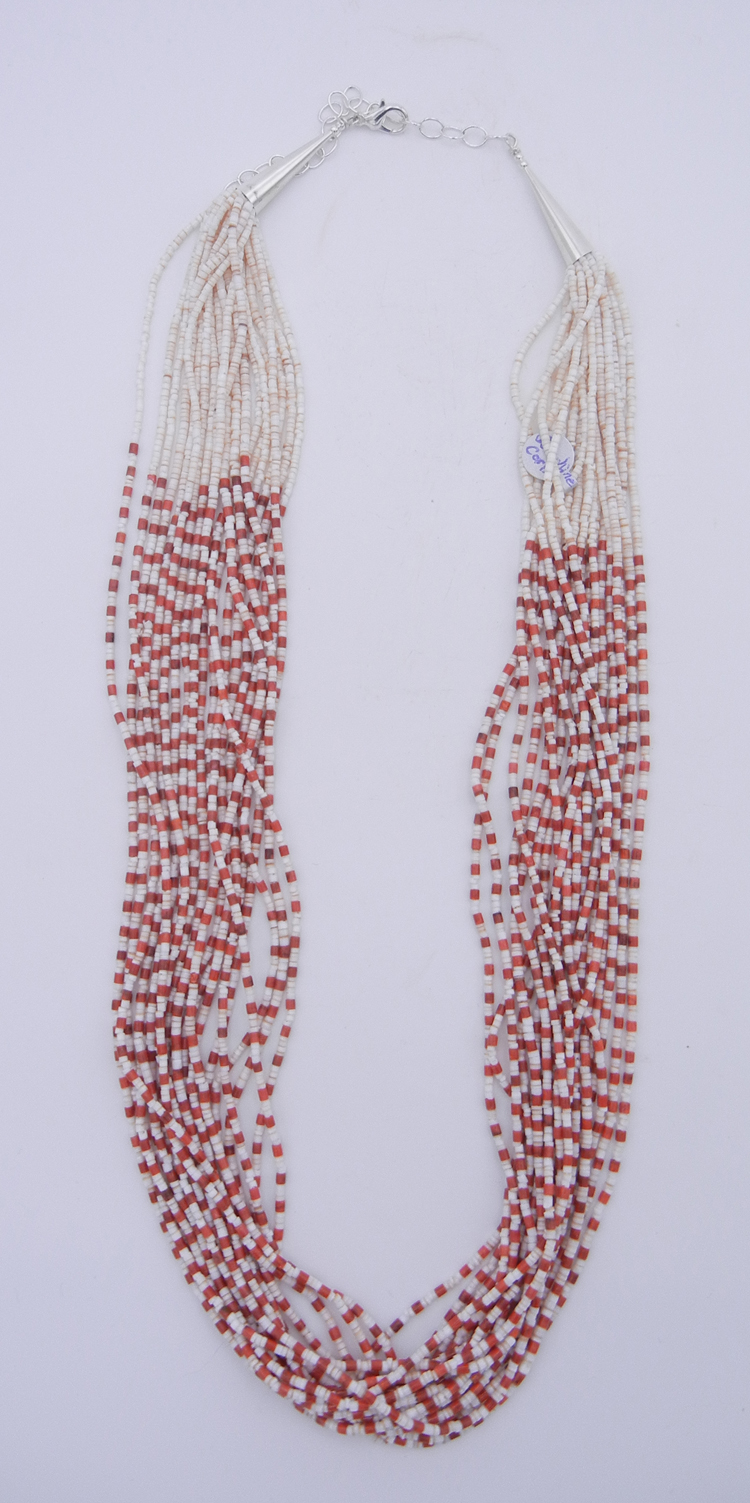 Santo Domingo Josephine Coriz White Clam Shell and Bamboo Coral Heishi 20 Strand Necklace