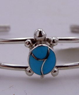 Zuni Turquoise and Sterling Silver Inlay Triple Turtle Cuff Bracelet