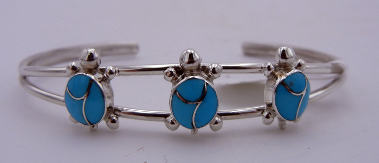 native-american-indian-jewelry-zuni-cuff-bracelet-turquoise-sterling-silver-inlay-turtles (1)