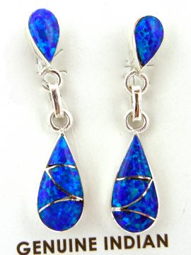 Zuni Orlinda Natewa Small Blue Lab Opal and Sterling Silver Inlay Earrings
