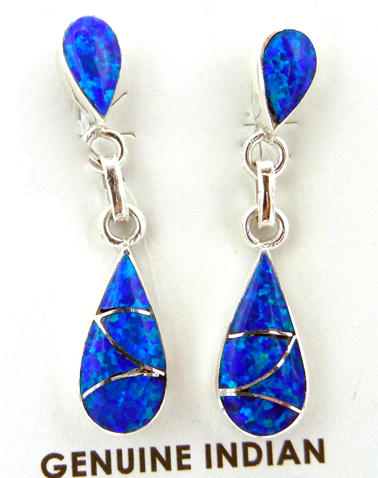 Zuni blue lab opal and sterling silver inlay earrings by Orlinda Natewa