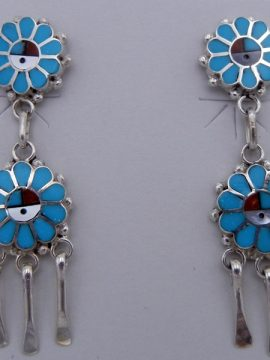 Zuni Multi-Stone Inlay and Sterling Silver Double Sunface Dangle Earrings